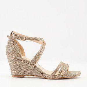 2/$25 NIBWT Glitter Mesh Ankle Strap Wedge Sandel